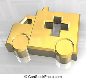 ambulance symbol in gold - 3d made