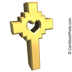 cross in gold - 3D made