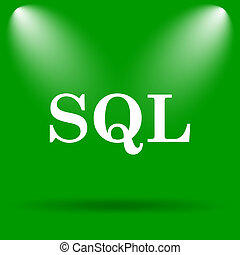 SQL icon. Internet button on green background.