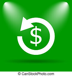 Refund icon Internet button on green background