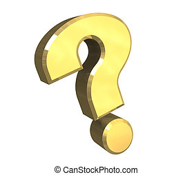 question mark, help symbol in gold (3d)
