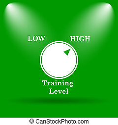 Training level icon Internet button on green background