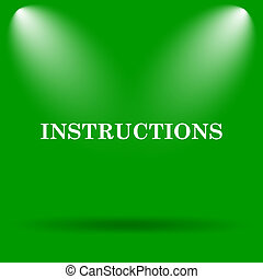 Instructions icon Internet button on green background