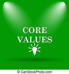 Core values icon. Internet button on green background.