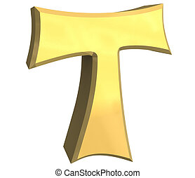 tau cross in gold - 3D made