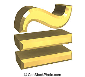 equal circa math symbol in gold - 3d made