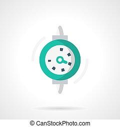 Dial gauge flat color design vector icon - Green dial gauge...