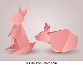 Set of origami paper rabbits separately from the background. Vector element for your design