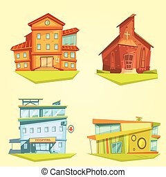Building Cartoon Set - Building cartoon set with hospital...