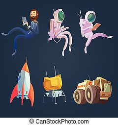 Outer Space Cartoon Set - Outer space cartoon set with...