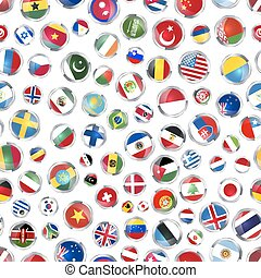 Glossy icons of flags of world sovereign states on white, seamless pattern