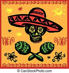 Day of the dead party.Hand drawn. Vector illustration.