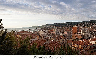 View of Trieste roofs - View of the Trieste roofs and sea,...