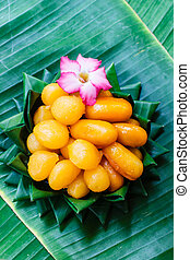 Thai dessert, thai sweets on banana leaf - Thong Yod, egg...