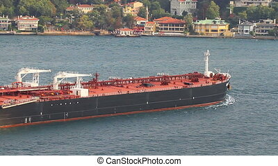 Super tanker ship sailing into Straits, Bosporus. 249 mt...