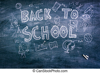 Freehand drawing Back to school on chalkboard ( Filtered...