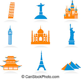 International landmark icons - Icon set with famous...