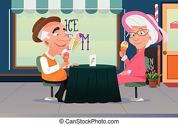 Couple Eating Ice Cream - A vector illustration of old...