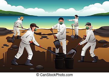 People Cleaning After an Oil Spill - A vector illustration...