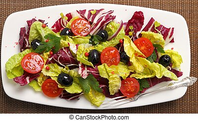 Salad with radicchio - Salad with radicchio, lettuce,...