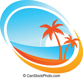 Tropical background with palm trees and setting sun