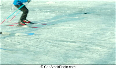 Two guys skiing with speed at stadium - Two teenagers in...