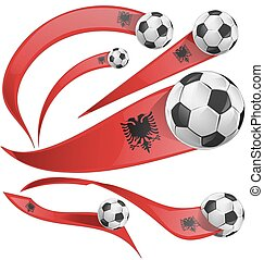 albania flag set with soccer ball isolated