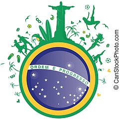 brazil background with flag and symbol