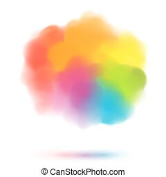 Rainbow colors blurred vector cloud isolated on white