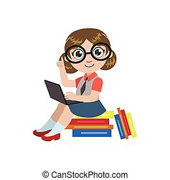 Girl In Glasses Reading Colorful Simple Design Vector...