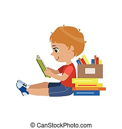 Boy Reading A Book Colorful Simple Design Vector Drawing...