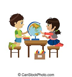 Boy And Girl With The Globe Colorful Simple Design Vector...