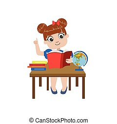 Girl Brhing The Desk Reading Colorful Simple Design Vector...