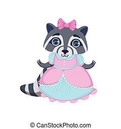 Girl Raccoon In Fancy Dress Colorful Illustration In Cute...