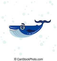 Blue Whale Drawing - Blue Whale Bright Color Cartoon Style...