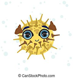 Porcupine Fish Drawing - Porcupine Fish Bright Color Cartoon...