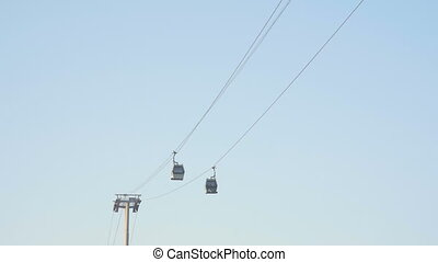 View of The Cable Car Public Transport. Cable Cars On Blue Sky Background.