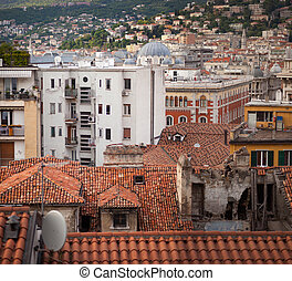 View of Trieste roofs - Top view of the city of Trieste,...
