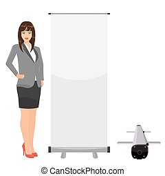Blank isolated vector roll up banner for your display mockup...