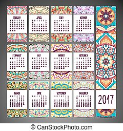 Calendar in ethnic style - Ethnic floral calendar. Abstract...