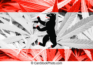 Flag of Berlin, on cannabis background