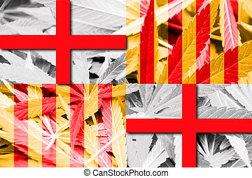 Flag of Barcelona, on cannabis background