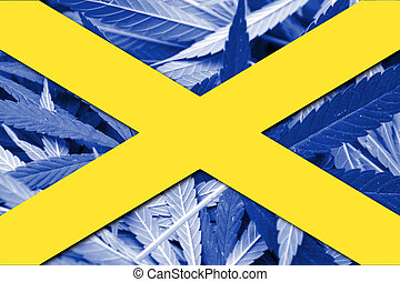Cross of St Alban, on cannabis background
