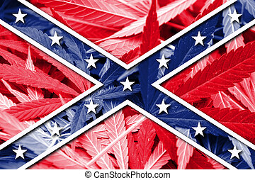 Confederate Flag, on cannabis background
