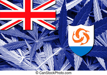 Flag of Anguilla, on cannabis background