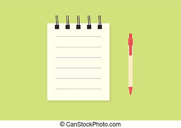 blank notebook with pen. flat simple design