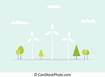Wind farm Cartoon windmill Simple flat image