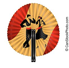 red yellow fan with dancers - red yellow fan with image of...
