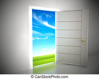 Door opening to blue sky background. 3D illustration