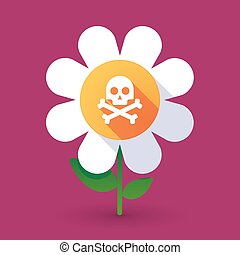 Vector flower with a skull